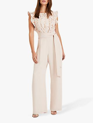 Phase Eight Victoriana Foil Print Jumpsuit, Cameo/Rose Gold