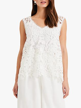 Phase Eight Aleah Lace Blouse, White