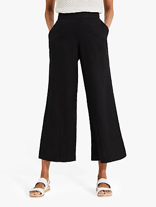 Phase Eight Luna Linen Wide Leg Trousers, Black