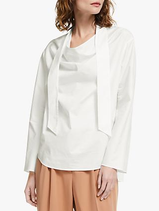 Modern Rarity Cotton Tie Neck Top, White