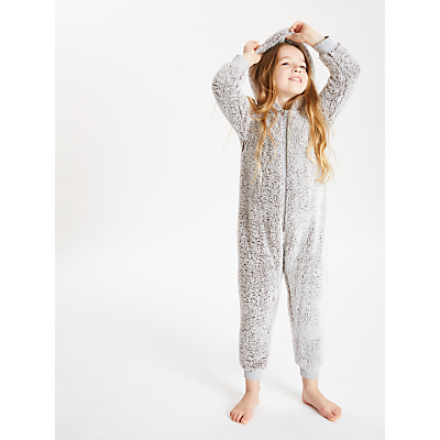 John Lewis & Partners Girls' Sherpa Onesie, Grey