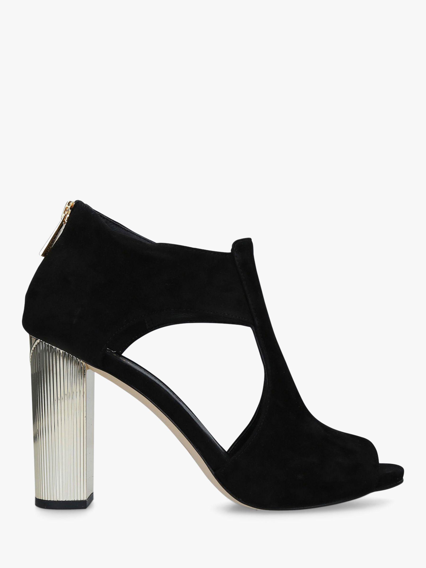 ladies black and white peep toe shoes