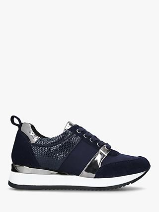 Carvela Justified Glitter Low Top Trainers, Navy