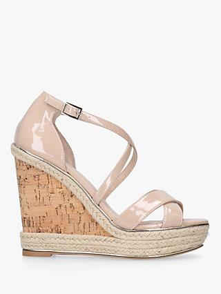 Carvela Sublime High Wedge Sandals, Nude Patent