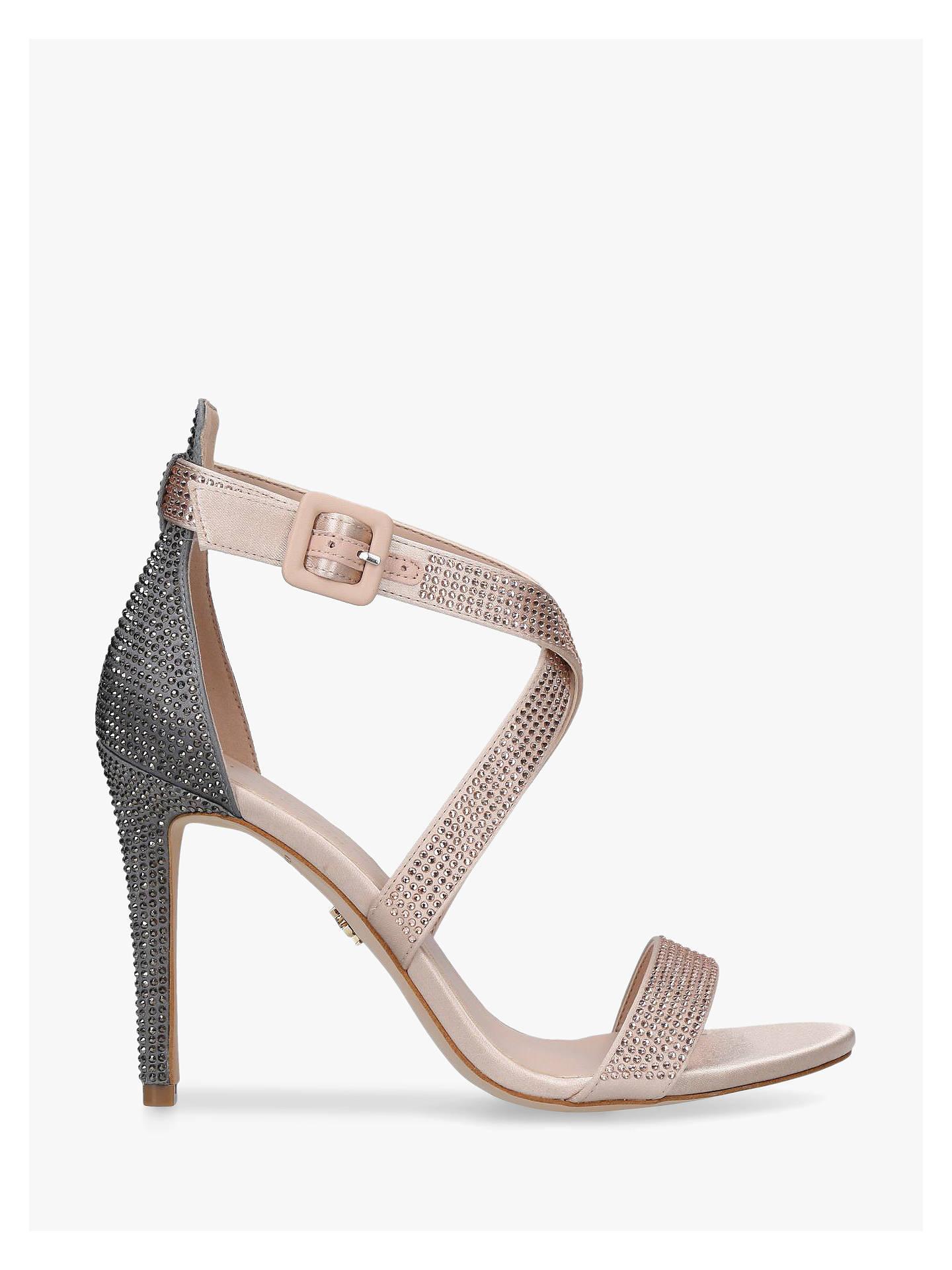 21105536b19 Kurt Geiger London Knightsbridge Crystal Stiletto Heel Sandals, Nude/Grey  Satin