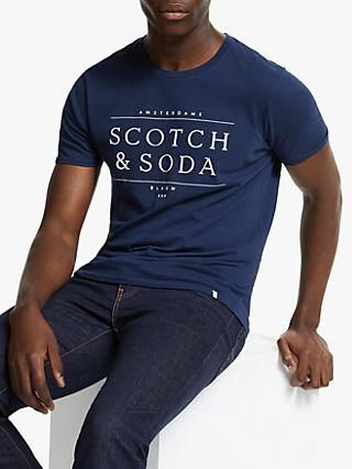 Scotch & Soda Crew Neck Logo T-Shirt, Navy
