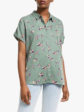 e0a3dbd2 ARMEDANGELS Zonja Floral Print Short Sleeve Shirt, Fresh Olive