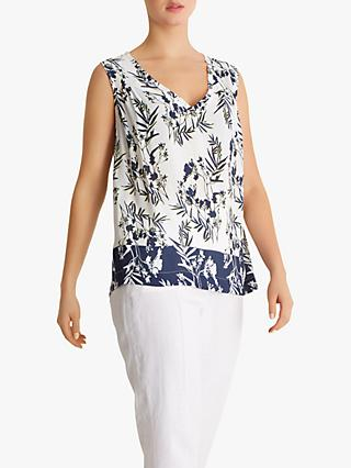 Fenn Wright Mason Petite Fern Floral Sleeveless Top, Ivory/Navy