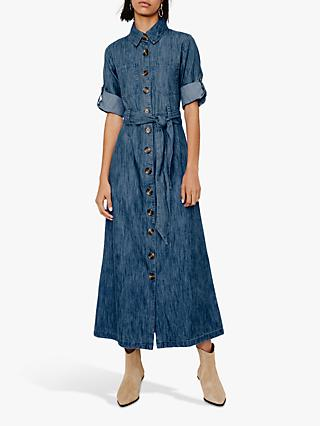 Warehouse Denim Maxi Shirt Dress, Light Wash Denim