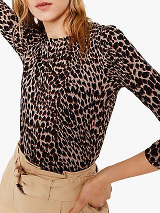 0562610063f71e Warehouse Leopard Print Crew Neck Top