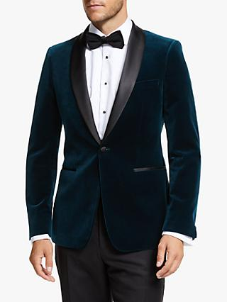 John Lewis & Partners Shawl Lapel Velvet Slim Fit Dress Suit Jacket, Teal