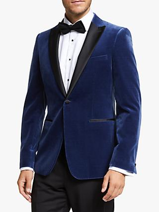 John Lewis & Partners Peak Lapel Velvet Slim Fit Dress Suit Jacket, Blue