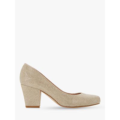 Dune Anthena Block Heel Court Shoes, Gold