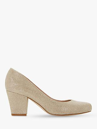 Dune Anthena Block Heel Court Shoes, Gold