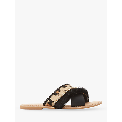 Dune Lumos Fringe Detail Slider Sandals