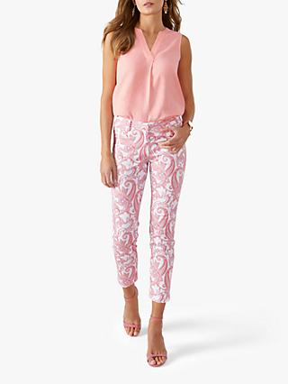 Pure Collection Capri Trousers, Pink Paisley