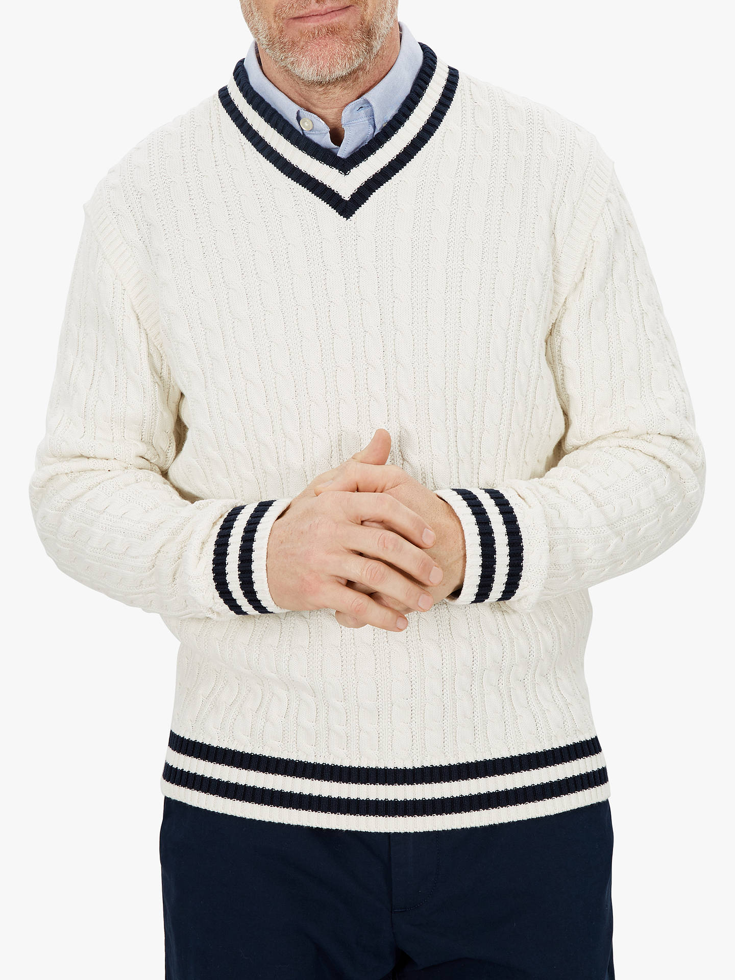 Jaeger V Neck Cricket Knit Jumper White At John Lewis Partners