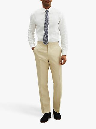Jaeger Silk Linen Regular Fit Suit Trousers, Cream
