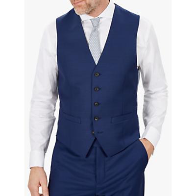 Jaeger Wool Mini Texture Slim Fit Waistcoat, Mid Blue