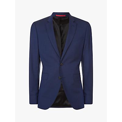 Jaeger Linen Wool Fine Check Slim Fit Suit Jacket, Dark Blue