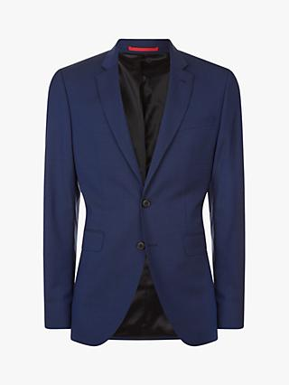 Jaeger Linen Wool Fine Check Slim Fit Suit Jacket, Dark Blue
