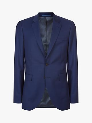 Jaeger Wool Mini Texture Slim Fit Suit Jacket, Mid Blue