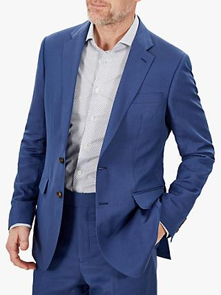Jaeger Silk Linen Regular Fit Suit Jacket, Light Blue
