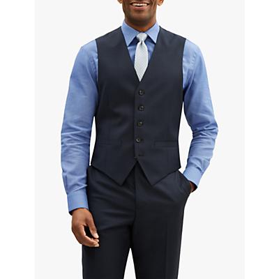 Jaeger Sharkskin Wool Slim Fit Waistcoat, Navy