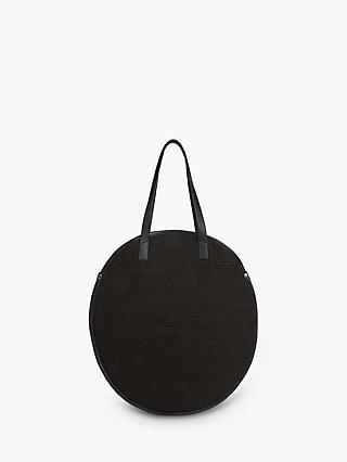 Whistles Devon Woven Round Bag, Black