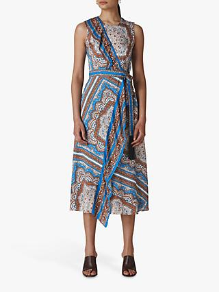 Whistles Aadya Scarf Print Dress, Blue/Multi