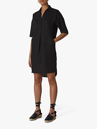 Whistles Lola Linen Pleat Detail Shirt Dress
