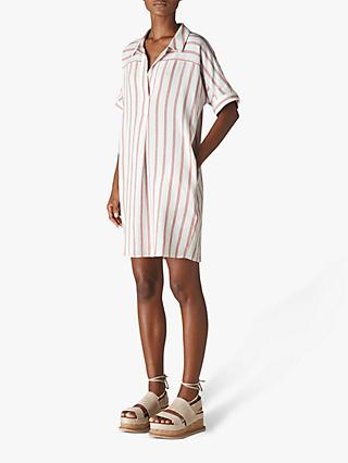 Whistles Sabrina Stripe Dress, White/Multi