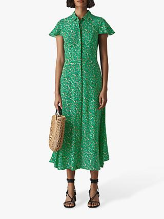 Whistles Ditsy Blossom Shirt Dress, Green/Multi