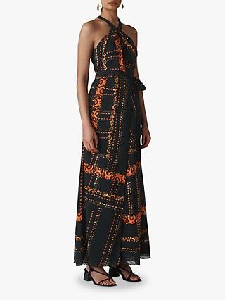 Whistles Scarf Print Halterneck Dress, Black/Multi