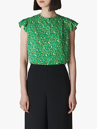 Whistles Ditsy Blossom Blouse, Green