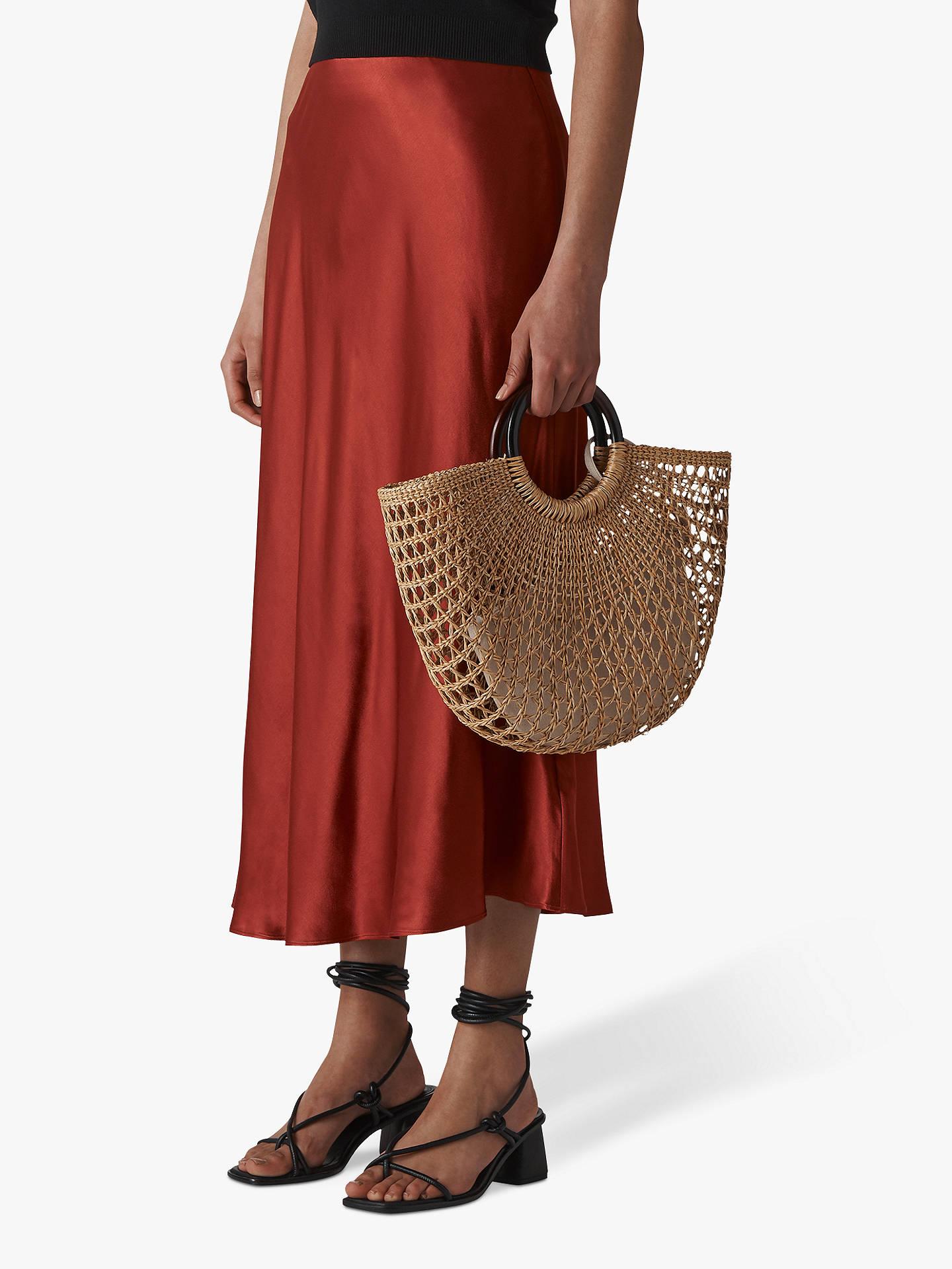 0b7e28e83f Buy Whistles Satin Bias Cut Skirt, Rust, 8 Online at johnlewis.com ...