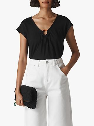 Whistles Tortoiseshell Ring Linen Top