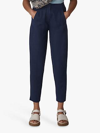 Whistles Barrel Leg Linen Trousers, Navy