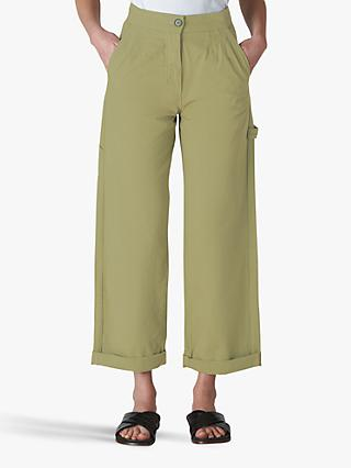 Whistles Cameron Cotton Trousers, Pale Green