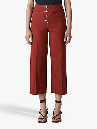 Whistles Heidi Button Front Trousers, Rust