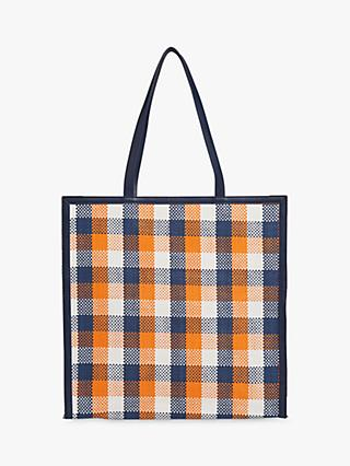 Whistles Clyde Check Weave Tote Bag, Blue/Orange