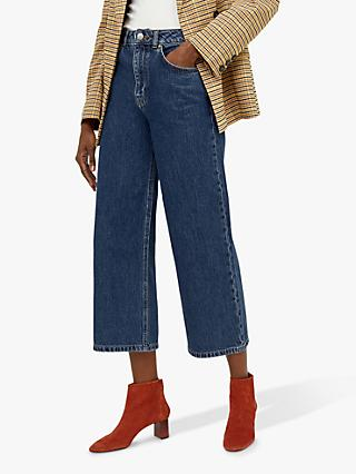 Warehouse Wide Cut Jeans, Mid Wash Denim