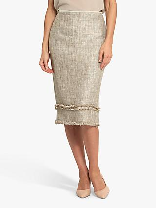 Helen McAlinden Joan Boucle Textured Pencil Skirt, Beige