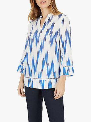 Jaeger Zig Zag Linen Tunic, Light Blue