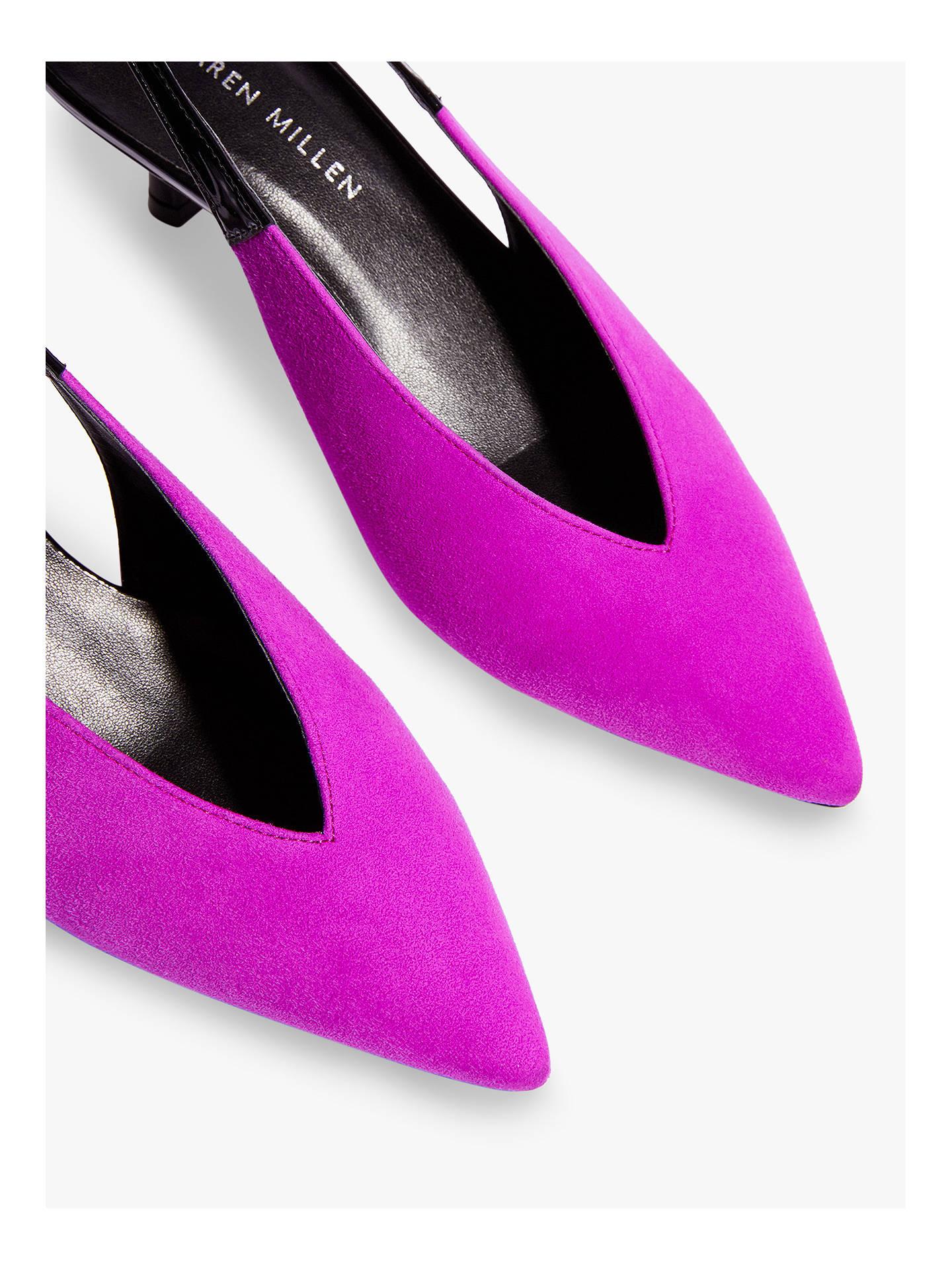 4b7b3f04c8 ... Buy Karen Millen Slingback Kitten Heel Court Shoes, Magenta Suede, 3  Online at johnlewis ...