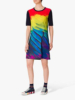 PS Paul Smith Feather Print Photo T-Shirt Dress, Navy/Multi