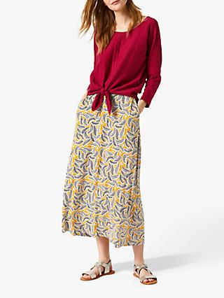 White Stuff Leaf Print Skirt, Yellow