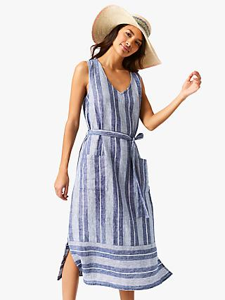 White Stuff Athel Stripe Linen Dress, Indigo