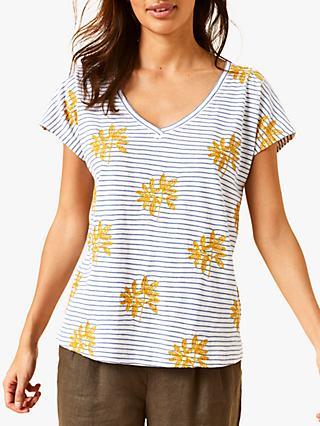 2faef8ad283fc White Stuff Leaf Embroidered Stripe T-Shirt