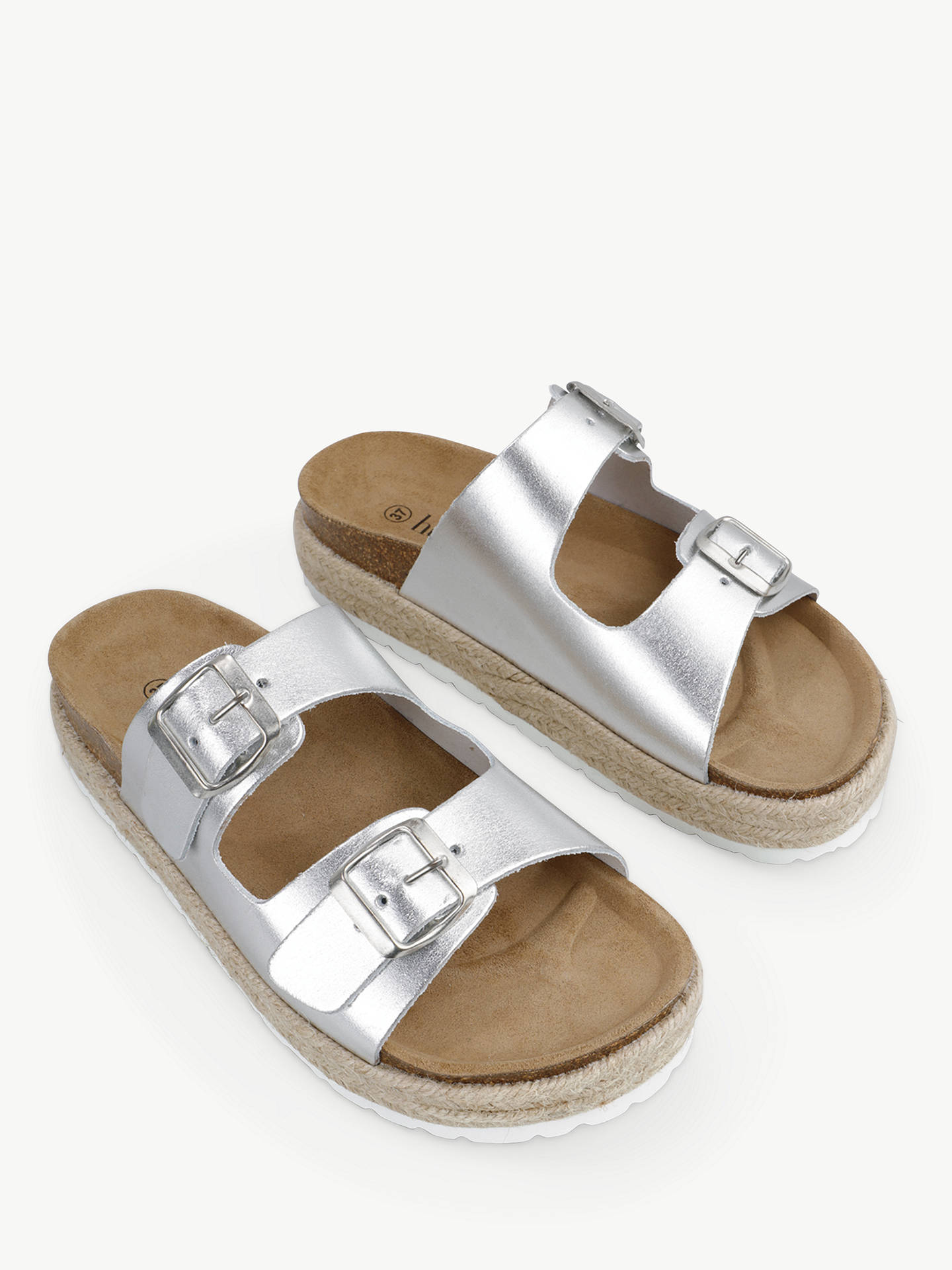 Buy hush Woodstock Double Strap Slider Sandals, Silver, 6 Online at johnlewis.com
